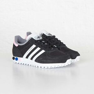 Image is loading Adidas-LA-Trainer-S75260-Black-White-Pink-Women-