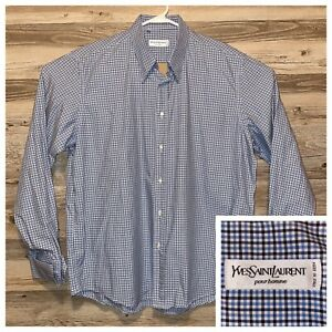 Yves-Saint-Laurent-Italy-Shirt-Mens-Size-44-17-5-Button-Up-French-Cuff-Checkered