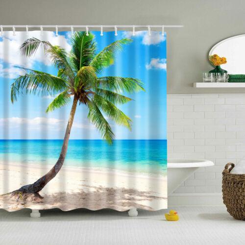 Sunset Ocean Beach Seaside Palm Trees Shower Curtain Bathroom Waterproof Fabric