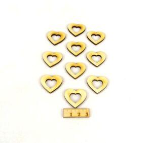 Herz mit Herzauschnitt aus Holz Geburtstag Dekoration Hochzeit Holzherzen 3cm