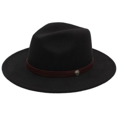 Hommes femmes Laine large bord chapeau panama Sombrero Cap sunhat Fedora Trilby Jazz 7 1//4