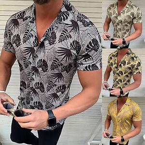 Mens-Hawaiian-Tropical-Beach-Party-Button-Up-Tee-Casual-Dress-Shirt-Blouses-Tops