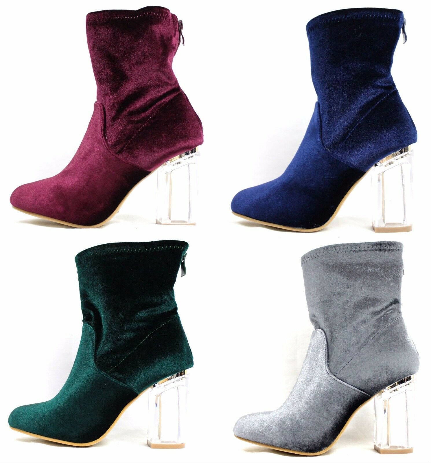 Ashely-1 Velvet Block Clear Lucite Perspex Dress Heel Ankle Boot Bootie Shoes
