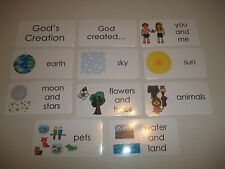 10 pack God's Creation Bible themed flashcards.  Preschool Bible study curriculu