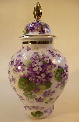Porzellan Vase Deckelvase lila Blumen Schumann Arzberg 25 cm perfekt um 1910