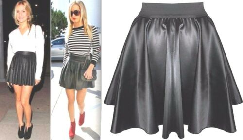 New Womens Faux Leather PVC Wet Look High Waist Flared Skater Mini Skirt 8-26