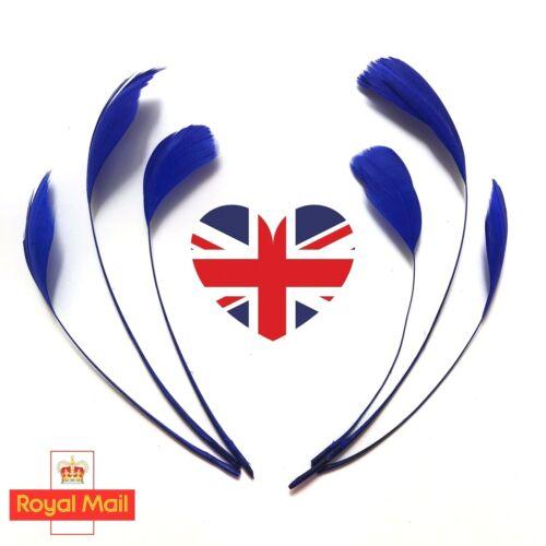 Largo azul eléctrico despojado Ganso plumas Sombrerería Sombrero Fascinator de la Trimmings