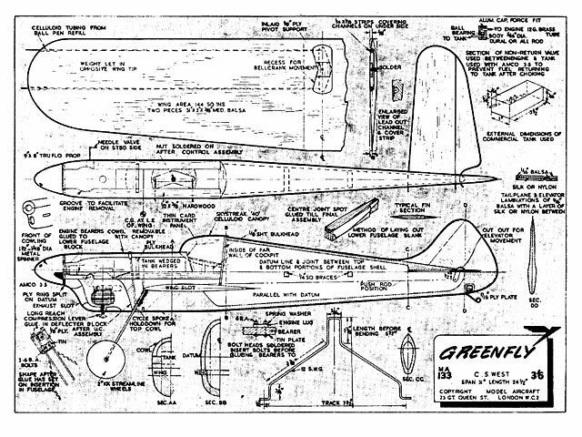 Amco Size Balsa Model Airplane Kit Printed Plans 31in Span Full