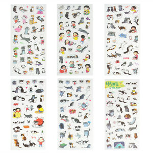 6-Sheets-Portable-Cute-Cat-Album-Diary-Calendar-Sticker-Label-Scrapbooking-Craft