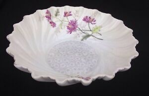 Antique-Transferware-Swirled-Ceramic-China-Center-Bowl-Floral-Decoration