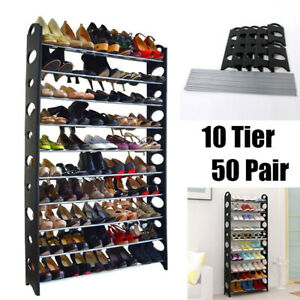 10-Tier-50-Pairs-Adjustable-Storage-Organizer-Stand-Shoe-Tower-Rack-Space-Saving