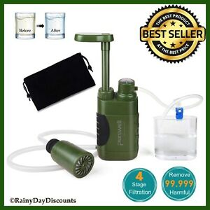 Water Filter Pump Purifier 4 Stages For Camping Hiking Backpacking Survival Tool