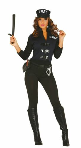 Womens SWAT Team Police Uniform Fancy Dress Costume Ladies Outfit