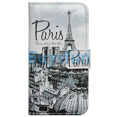 Retro Paris Rooftops Card Slot Wallet Leather Cover Case For Samsung Galaxy S5