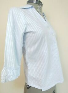 Fine Garments By Bell Womens Asymmetric V Neck Button Down Ruffled Blouse Size 0