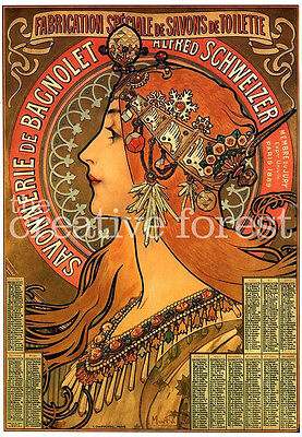 Waverly Cycles 1898 Alphonse Mucha Advertising Poster Canvas Giclee 30x24 Inches