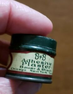 "Antique Medical Tin B&B Adhesive Plaster Mini Size 1"" tall Cute Bauer & Black"