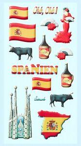 Softy Sticker Aufkleber Spanien Urlaub Reisen Länder Flagge DIY selbstklebend