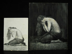 Two-Trials-Engraving-Young-Woman-IN-Sobbing-c1950-Curiosity-Artist-IN-Determ