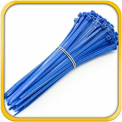 """250 Pack Heavy Duty 8/"""" 50lbs Zip Cable Tie Down Strap Wire Uv Blue Nylon Wrap"""