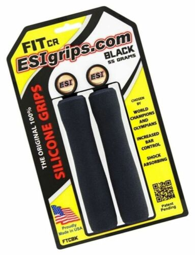 ESI  FIT CR Black Mountain Bike Race Grips Shock Absorb 100/% SILICONE 130mm 55g
