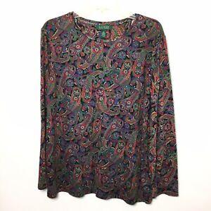 Lauren-Ralph-Lauren-Womens-2X-Paisley-Long-Sleeve-Shirt-Top