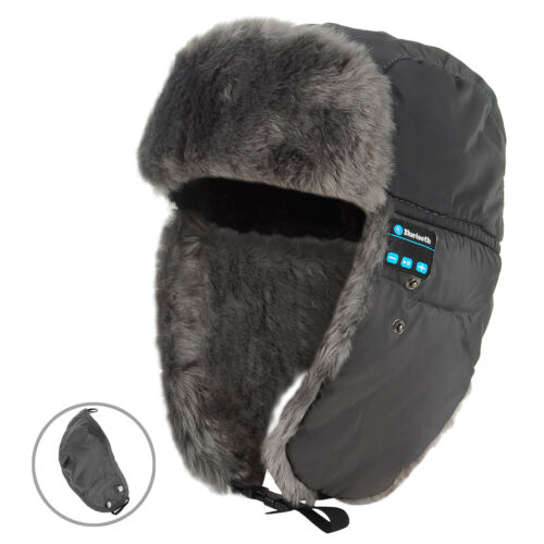 Ladies Mens Ski Russian Ushanka Style Wireless Bluetooth Headset Cap Earflap Hat