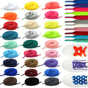 White Shoe Laces Flat Pair 8mm Wide Boot Trainer Short /& Long Kids /& Adults