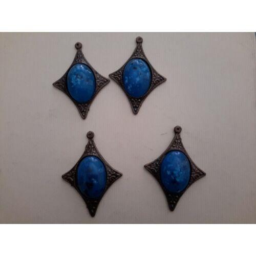 N.4 Applicazioni in metallo color ottone anticato con finta pietra turches 7497
