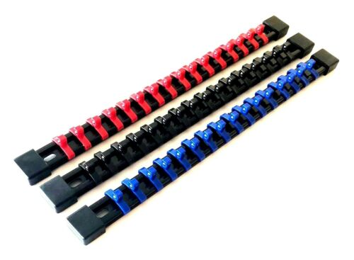 "3 GOLIATH INDUSTRIAL 1//4/"" MOUNTABLE RED//BLACK//BLUE SOCKET RAILS HOLDER ORGANIZER"