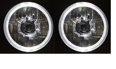 """WHITE LED Halo Ring 5 3/4"""" Round H4 Semi Sealed Angel Eye Headlights"""