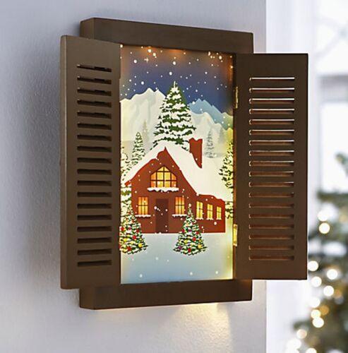 """Leuchtbild /""""Winter/"""" romantischem Wintermotiv Fensterläden  15 LED/'s Bild *NEU *"""