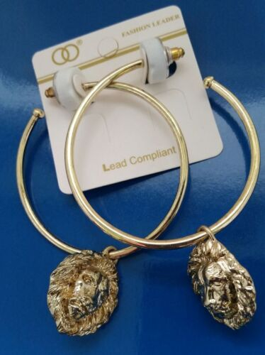Gold-tone metal Large Rings Earrings with Lion Head   Z01-10//22