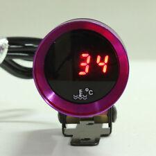 37mm Car Digital Water Temp Temperature Gauge Meter RED Display Purple Univesal