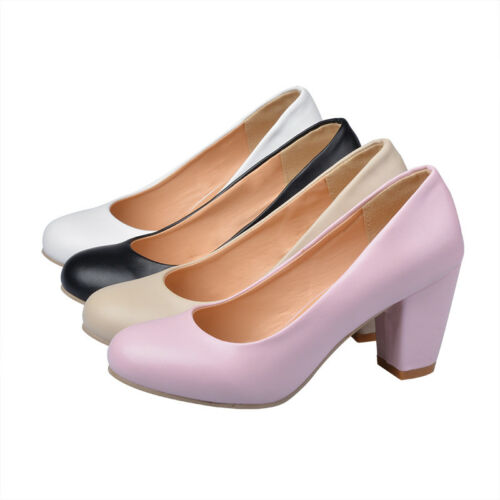 UK Womens Block High Heel Platform Shoes Round Toe Plus Size Court Pumps Slip on