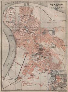 Belgrade Beograd Antique Town City Plan Serbia Mapa Baedeker