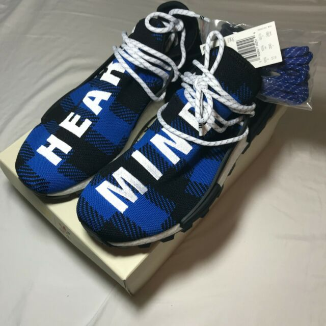 the best attitude ef69e 87582 adidas NMD HU Pharrell BBC Blue Plaid SNEAKERS Heart Mind ...