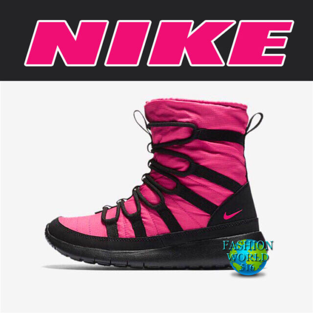 finest selection c9916 ae0bb Nike Roshe One Hi Big Kids 807758-600 Rush Pink Black Sneakerboots Size 7