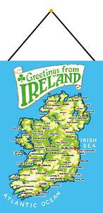 Greetings-De-Irlande-Map-Bouclier-avec-Cordon-Signe-en-Etain-Metal-20-X-30-CM
