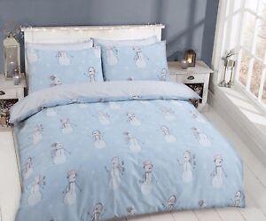 Christmas-Bedding-Festive-Snowman-Duvet-Cover-Polycotton-Bedding-Set-All-Sizes