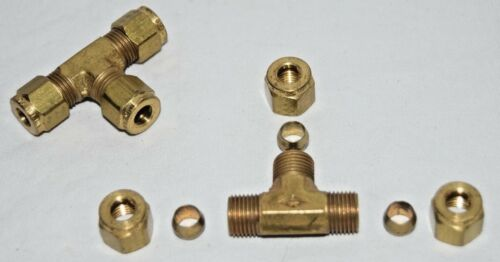 """PARKER 164C-4 Union Tee Brass Compression Tubing 1//4/"""""""