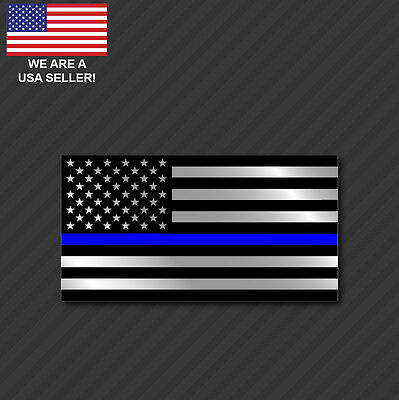 Police Officer Thin Blue Line American Flag Decal Sticker