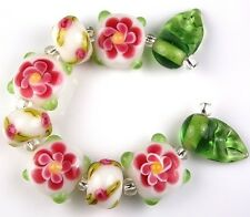 Pink Flower Handmade Lampwork Loose Glass Beads Jewelry Making Craft Spacer