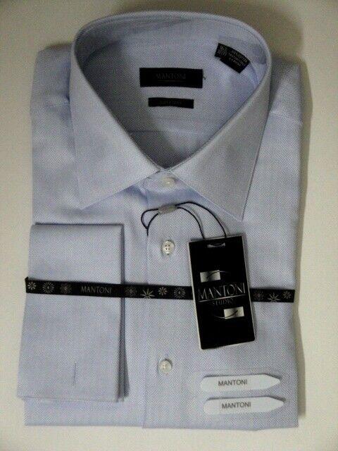 MANTONI MEN DRESS SHIRT blueE HERRINGBONE 2XL 18.5 34 35