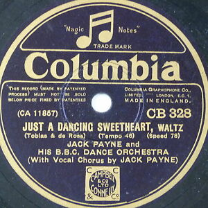 78-record-in-frame-JUST-A-DANCING-SWEETHEART-WHISTLING-IN-THE-DARK-jack-payne