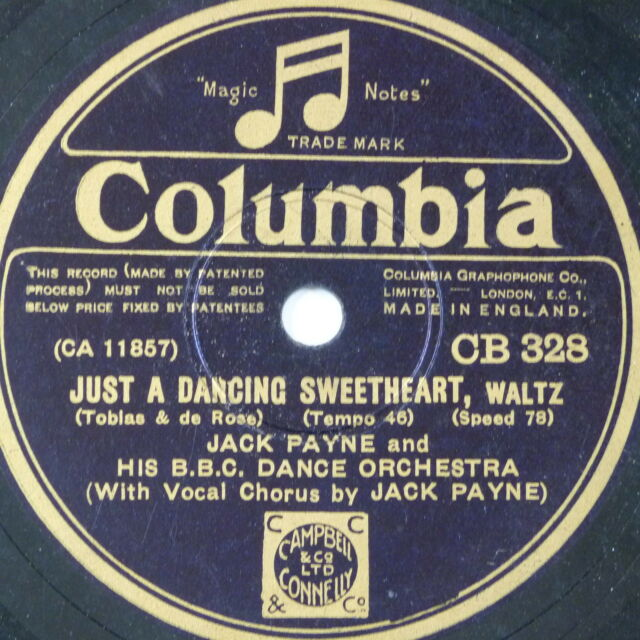 78 record in frame JUST A DANCING SWEETHEART / WHISTLING IN THE DARK jack payne