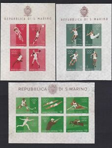 San Marino 1960 Rome Olympic Games Imperf Souvenir Sheets 3 diff. mint NH