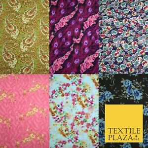 """Mix Floral Animal Abstract Printed Fine Crepe Polyester Summer Dress Fabric 58/"""""""