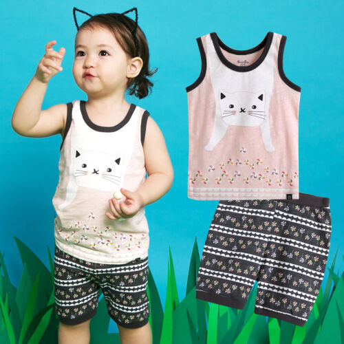 "NWT Vaenait Baby Kids Girls Boys Sleeveless Outfit Pajama set /""Super Cat/"" 12M-7T"