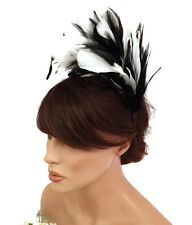 stunning 20's Flapper Style Fab Feather Fascinator Headband Black and White